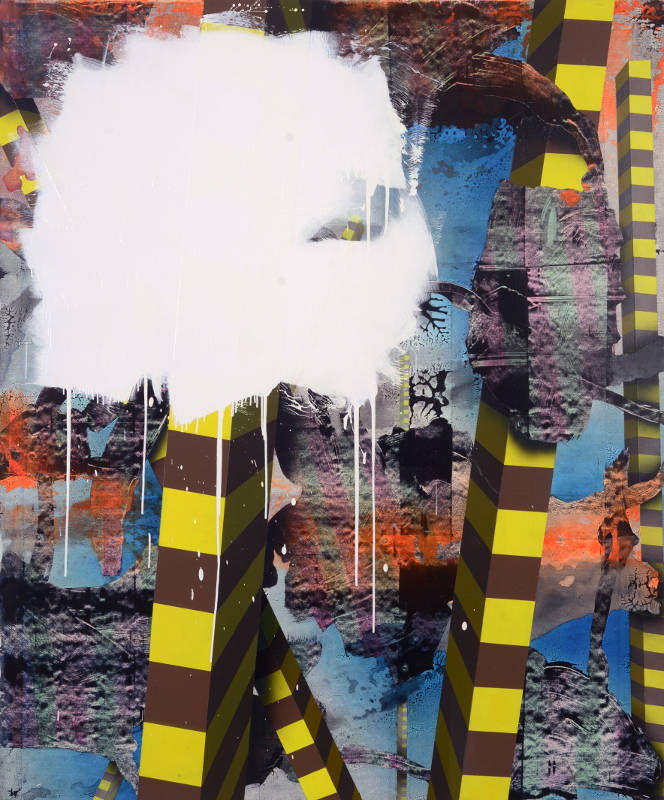 Bernard Gilbert - 2010 - Number 113 - Acrylic mediums on polyester canvas, 180 x 150 cm